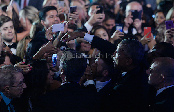 United States President Barack Obama checks hands with guests during the 39th Annual Congressional Hispanic Caucus Institute Public Policy Conference and Annual Awards Gala at the Walter E. Washington Convention Center, September 15 2016, in Washington, DC. <br /> Credit: Olivier Douliery / Pool via CNP /MediaPunch