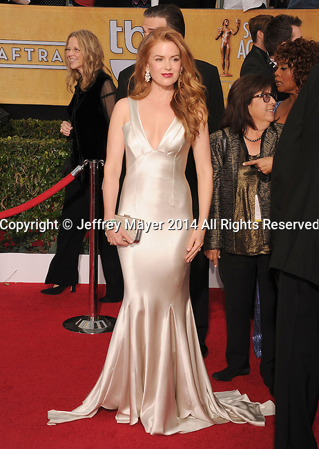 LOS ANGELES, CA- JANUARY 18: Actress Isla Fisher arrives at the 20th Annual Screen Actors Guild Awards at The Shrine Auditorium on January 18, 2014 in Los Angeles, California.
