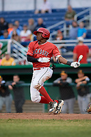Batavia Muckdogs shortstop Demetrius Sims (3) grounds out during a game against the West Virginia Black Bears on June 19, 2018 at Dwyer Stadium in Batavia, New York.  West Virginia defeated Batavia 7-6.  (Mike Janes/Four Seam Images)