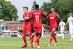 20.07.2019, Heinz-Dettmer-Stadion, Lohne, GER, Interwetten Cup, VfL Osnabrueck vs 1. FC Koeln<br /> <br /> im Bild<br /> Jubel 0:3, Kingsley Schindler (Koeln #11) bejubelt seinen Treffer zum 0:3 mit Niklas Hauptmann (Neuzugang Koeln #36) und Ismail Jakobs (Koeln #38), <br /> <br /> Foto © nordphoto / Ewert