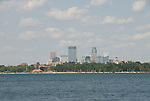 Minnesota, Twin Cities, Minneapolis-Saint Paul: South end of Lake Calhoun, with the Minneapolis skyline in the background..Photo mnqual271-75187..Photo copyright Lee Foster, www.fostertravel.com, 510-549-2202, lee@fostertravel.com.