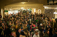 Travelers crowd Grand Central Terminal in New York on Wednesday, November 23, 2011, the beginning of the great exodus over the Thanksgiving weekend.  According to AAA,  travel will increase 4 percent from last year. Unemployment is expected to be 0.4 points less than last year.(© Richard B. Levine)