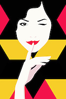 Woman winking with finger on lips