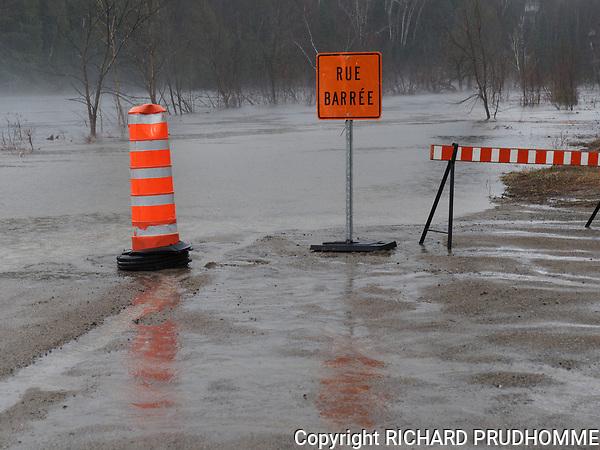 A flooded street in Rawdon,Quebec