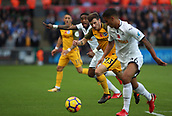 4th November 2017, Liberty Stadium, Swansea, Wales; EPL Premier League football, Swansea City versus Brighton and Hove Albion; Pascal Gross of Brighton has eyes on the ball as Swansea City try to clear it