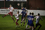 Ashton United 6 Ramsbottom United 0, 12/01/2016. Hurst Cross stadium, Northern Premier League. Second-half action during the fixture between Ashton United (in red) and Ramsbottom United in the Northern Premier League premier division. The match was played at Ashton's Hurst Cross stadium, the club's ground. The club was originally founded in 1878 as Hurst F.C. and by 1880 the club were playing at Hurst Cross, their current ground which makes their home one of the oldest football grounds in the world. Ashton won the match 6-0, watched by a crowd of 178. Photo by Colin McPherson.
