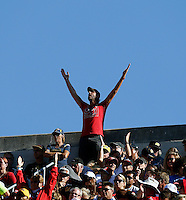 Ohio State Buckeyes fan cheers against California Golden Bears in the 2nd quarter at Memorial Stadium in Berkeley, California on September 14, 2013.  (Dispatch photo by Kyle Robertson)