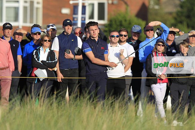 Conor Gough (GB&I) on the 17th tee during Day 1 Singles of the Walker Cup at Royal Liverpool Golf CLub, Hoylake, Cheshire, England. 07/09/2019.<br /> Picture: Thos Caffrey / Golffile.ie<br /> <br /> All photo usage must carry mandatory copyright credit (© Golffile | Thos Caffrey)