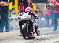 Oct 12, 2019; Concord, NC, USA; NHRA pro stock motorcycle rider Matt Smith during qualifying for the Carolina Nationals at zMax Dragway. Mandatory Credit: Mark J. Rebilas-USA TODAY Sports