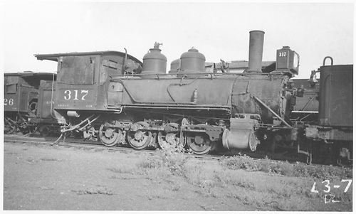 3/4 engineer's-side view of D&amp;RGW #317 stored.<br /> D&amp;RGW    Taken by Rogers, Donald E. A.