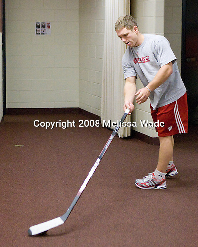 Eric Springer (Wisconsin - 4) - The Boston College Eagles defeated the University of Wisconsin Badgers 5-4 on Friday, October 10, 2008 after raising their 2008 National Championship banner at Kelley Rink in Conte Forum in Chestnut Hill, Massachusetts.