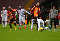 15th March 2020, Istanbul, Turkey;   Mohamed Elneny of Besiktas is fouled by Mariano  Younes Belhanda of Galatasaray during the Turkish Super league football match between Galatasaray and Besiktas at Turk Telkom Stadium in Istanbul , Turkey on March 15 , 2020.