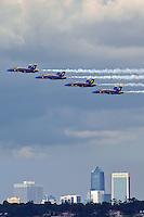 The Navy's Blue Angels soar in front of downtown Jacksonville.