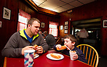 CHESHIRE, CT - 19 MAY - 051918JW11.jpg --  Vincent Bernabucci Jr. eats hotdogs with Vincent Bernabucci the 3rd Saturday afternoon at Blackies Hot Dogs which will be celebrating it's 90th anniversary Saturday May 26th.  Jonathan Wilcox Republican-American