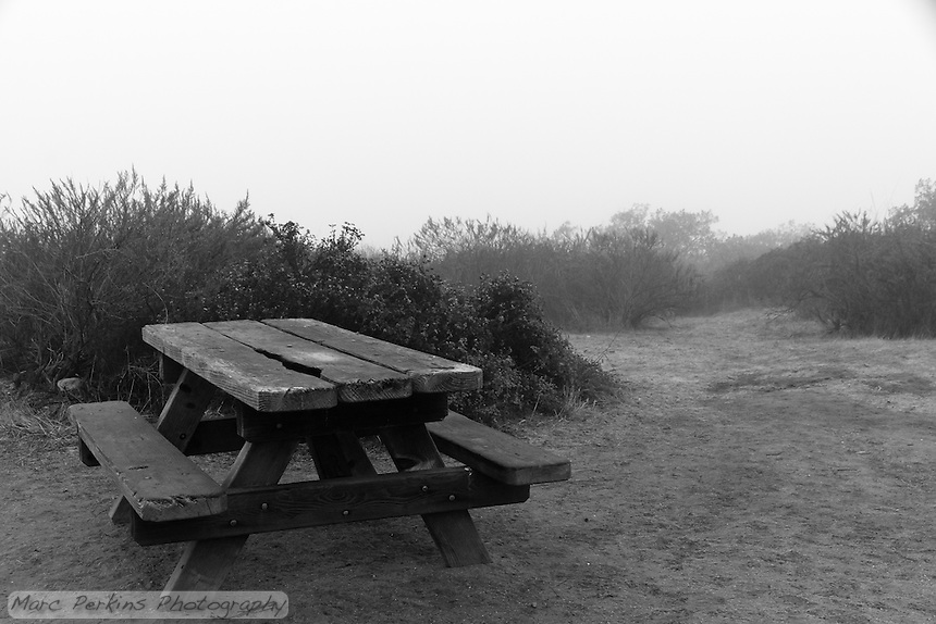 A picnic table on a foggy afternoon at the Lower Moro campground of Crystal Cove State Park.