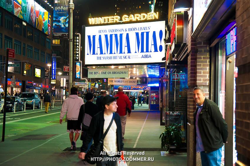 Mamma Mia sign (billboard) on Times Square in New York City, USA