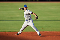 Dunedin Blue Jays shortstop Kevin Smith (10) throws to first base during a game against the Charlotte Stone Crabs on June 5, 2018 at Charlotte Sports Park in Port Charlotte, Florida.  Dunedin defeated Charlotte 9-5.  (Mike Janes/Four Seam Images)