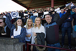 Visiting fans in the away end before East Stirlingshire took on Edinburgh City in the second leg of the Scottish League pyramid play-off at Ochilview Park, Stenhousemuir. The play-offs were introduced in 2015 with the winners of the Highland and Lowland Leagues playing-off for the chance to play the club which finished bottom of Scottish League 2. Edinburgh City won the match 1-0 giving them a 2-1 aggregate victory making them the first club in Scottish League history to be promoted into the league.