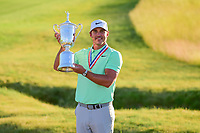 Brooks Koepka (USA) and the trophy for winning the 117th U.S. Open, at Erin Hills, Erin, Wisconsin. 6/18/2017.<br /> Picture: Golffile | Ken Murray<br /> <br /> <br /> All photo usage must carry mandatory copyright credit (&copy; Golffile | Ken Murray)