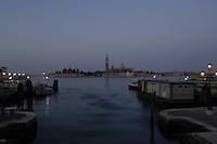Early morning view of San Giorgio Maggiore, looking out from the water bus/ Vaporetti  stop San Zaccaria, Venice Italy.