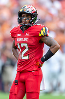 Landover, MD - September 1, 2018: Maryland Terrapins wide receiver Taivon Jacobs (12) during game between Maryland and No. 23 ranked Texas at FedEx Field in Landover, MD. The Terrapins upset the Longhorns in back to back season openers with a 34-29 win. (Photo by Phillip Peters/Media Images International)
