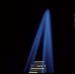 """Tribute in Light"" Memorial near Ground Zero, to commemorate 6 month anniversary of the attack on the World Trade Center on 9/11/2001."