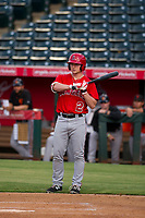 AZL Angels left fielder Jacob Pearson (2) bats during a game against the AZL Giants on July 9, 2017 at Diablo Stadium in Tempe, Arizona. AZL Giants defeated the AZL Angels 8-4. (Zachary Lucy/Four Seam Images)