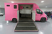 "Pictured: The pink Fiat Ducato horsebox once owned by tv personality Katie Price.<br /> Re: A pink horsebox owned by Katie Price is up for grabs at auction after failing to sell on eBay.<br /> The 2012 registered Fiat Ducato is instead listed on the John Pye online auction site and is now at the company's depot in Port Talbot, south Wales.<br /> The vehicle has only covered 7,000 miles, with additional features EQUI-TREK SUPER SONIC HORSE BOX CARRIER.<br /> Previously owned by Model/TV celebrity Katie Price<br /> 3.5 t finished paint work in Pink by Kahn.<br /> 2 Horse carrier.<br /> Cream Leather interior.<br /> Tachograph.<br /> Aircon.<br /> Grooms Locker.<br /> Extra height partition.<br /> Skylight Roof Vent.<br /> Internal Lighting.<br /> Tinted windows.<br /> Tie Rings on external.<br /> Internal and rear reversing cameras.<br /> wireless camera system with 7"" screen"