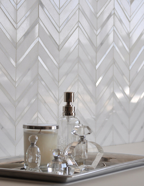 Raj, a handmade mosaic shown in Thassos and polished Calacatta Tia, is part of the Silk Road Collection by Sara Baldwin for New Ravenna. <br />
