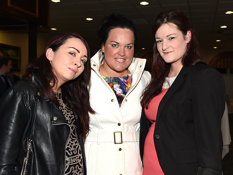 Sinead Melaniff, Jill McGuinness and Orla Lenehan pictured at the Termonfeckin Macra reunion in the Boyne Valley hotel. Photo:Colin Bell/pressphotos.ie