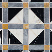 Claudius, a hand-cut stone mosaic, shown in polished Allure, Xanadu, Nero Marquina, and honed Calacatta Gold, is part of the Palazzo™ collection by New Ravenna.