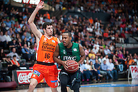 VALENCIA, SPAIN - OCTOBER 18: Leesville and Guillem Vives during ENDESA LEAGUE match between Valencia Basket Club and FIATC Joventut at Fonteta Stadium on October 18, 2015 in Valencia, Spain