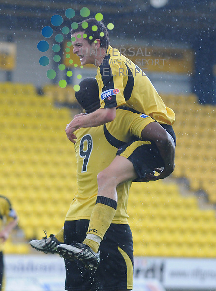Livingston v Montrose.Irn Bru SFL Div 3.15/09/2009 - Almondvale Stadium, Livingston..Livi's Andrew Halliday celebrates with team mate Armand One...Picture by Steven Carrie.