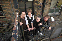 TRAVIS....(left-right)Neil Primrose, Doug Payne, Fran Healy and  Andy Dunlop outside the recording studio in London... .
