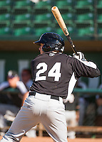 Cole Anderson (24) of the Grand Junction Rockies at bat against the Ogden Raptors in Pioneer League action at Lindquist Field on July 5, 2015 in Ogden, Utah. Ogden defeated Grand Junction 12-2.  (Stephen Smith/Four Seam Images)