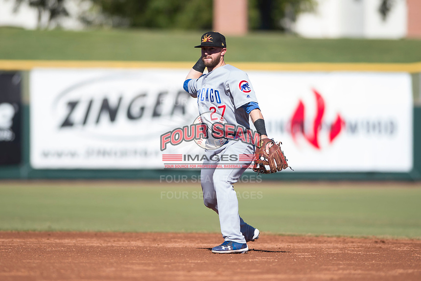 Mesa Solar Sox second baseman Trent Giambrone (27), of the Chicago Cubs organization, throws to first base during an Arizona Fall League game against the Scottsdale Scorpions at Scottsdale Stadium on November 2, 2018 in Scottsdale, Arizona. The shortened seven-inning game ended in a 1-1 tie. (Zachary Lucy/Four Seam Images)
