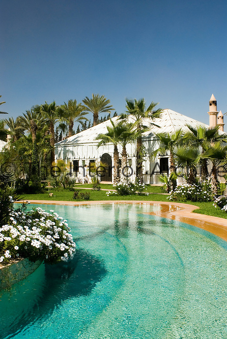 One of the six tents available for guests at Le Palais Rhou seen from the large swimming pool