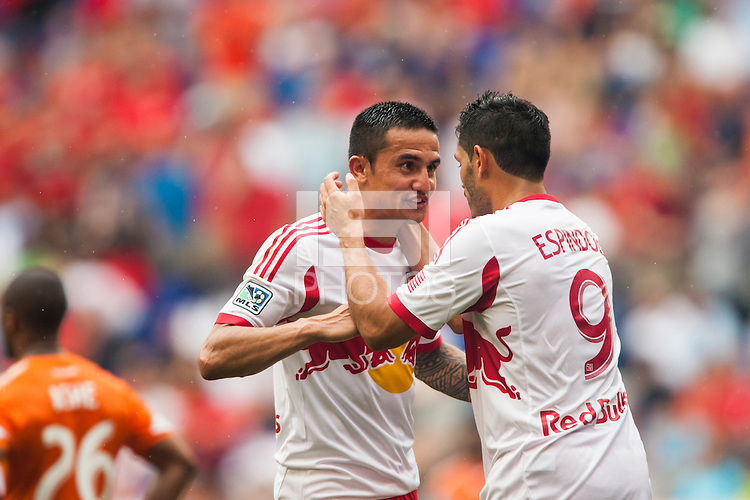 Fabian Espindola (9) of the New York Red Bulls celebrates scoring with Tim Cahill (17). The New York Red Bulls defeated the Houston Dynamo 2-0 during a Major League Soccer (MLS) match at Red Bull Arena in Harrison, NJ, on June 30, 2013.