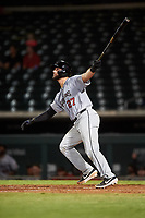 Scottsdale Scorpions Joey Bart (27), of the San Francisco Giants organization, hits his second home run of the game during an Arizona Fall League game against the Mesa Solar Sox on September 18, 2019 at Sloan Park in Mesa, Arizona. Scottsdale defeated Mesa 5-4. (Zachary Lucy/Four Seam Images)