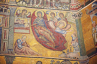 The Medieval mosaics of the ceiling of The Baptistry of Florence Duomo ( Battistero di San Giovanni ) showing Mary having given birth to Jesus who is lying in a manger which shows the influence of the Franciscan Friar who oversaw the mosic work,  Jacopo da Torrita, who was following the tradition of Christ being born in a stable invented by St. Francis,  started in 1225 by Venetian craftsmen in a Byzantine style and completed in the 14th century. Florence Italy