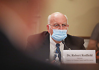 """Dr. Robert Redfield, Director of the Centers for Disease Control and Prevention testifies during a United States House Labor, Health and Human Services, Education and Related Agencies Subcommittee holds a hearing on """"COVID-19 Response on Capitol Hill in Washington, DC on Thursday, June 4, 2020. <br /> Credit: Tasos Katopodis / Pool via CNP/AdMedia"""