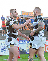 Picture by Allan McKenzie/SWpix.com - 10/05/2018 - Rugby League - Ladbrokes Challenge Cup - Featherstone Rovers v Hull FC - LD Nutrition Stadium, Featherstone, England - Hull FC's Jake Connor celebrates his second try against Featherstone with Josh Griffin.