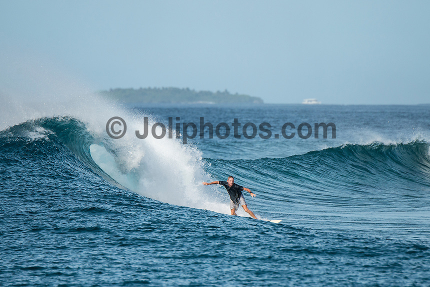 Four Seasons, Maldives (Sunday, July 12, 2015) The swell was out of the south east today with waves in the 3'-4' range.  There was a surf session at Sultans with clean faces due to the SW winds. Yesterday's storms had disappeared and we had mainly clear blue skies with some high cloud, Photo: joliphotos.com