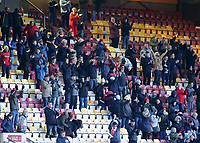 Fleetwood Town fans celebrate at the final whistle<br /> <br /> Photographer David Shipman/CameraSport<br /> <br /> The EFL Sky Bet League One - Bradford City v Fleetwood Town - Saturday 9th February 2019 - Valley Parade - Bradford<br /> <br /> World Copyright &copy; 2019 CameraSport. All rights reserved. 43 Linden Ave. Countesthorpe. Leicester. England. LE8 5PG - Tel: +44 (0) 116 277 4147 - admin@camerasport.com - www.camerasport.com