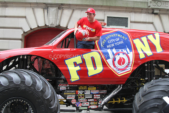 WWW.ACEPIXS.COM . . . . .  ....June 5 2012, New York City......Monster Truck driver Tom Meents  at the FDNY Monster Jam Truck unveiling at New York City Fire Museum on June 5, 2012 in New York City. ....Please byline: Zelig Shaul - ACE PICTURES.... *** ***..Ace Pictures, Inc:  ..Philip Vaughan (212) 243-8787 or (646) 769 0430..e-mail: info@acepixs.com..web: http://www.acepixs.com