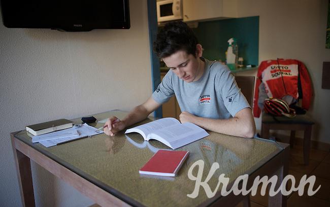 Tiesj Benoot (BEL/Lotto-Soudal) studying (economics/accountancy) at the Team Lotto Soudal 2016 pre-season training camp<br /> <br /> Mallorca, december 2015