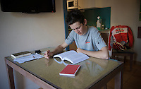 Tiesj Benoot (BEL/Lotto-Soudal) studying (economics/accountancy) at the Team Lotto Soudal 2016 pre-season training camp<br /> <br /> Mallorca, december 2015