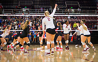 STANFORD, CA - November 4, 2018: Meghan McClure, Morgan Hentz, Kathryn Plummer, Tami Alade, Jenna Gray, Audriana Fitzmorris at Maples Pavilion. No. 2 Stanford Cardinal defeated the Utah Utes 3-0.