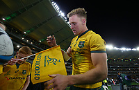 Reece Hodge of the Wallabies signs autographs for fans during the Rugby Championship match between Australia and New Zealand at Optus Stadium in Perth, Australia on August 10, 2019 . Photo: Gary Day / Frozen In Motion