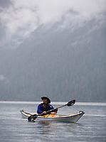 Jennifer Johnston of Bothell paddles across Baker Lake near Concrete, Wash., Friday Sept. 28, 2007.